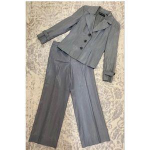 DANA BUCHMAN Gray Wool Blend Wide Leg Pants Suit